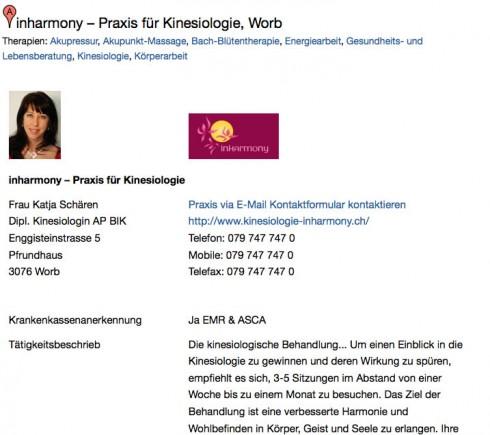 Muster eines Premium Eintrags auf PraxisCheck.ch